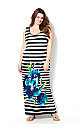 Striped Placed Floral Maxi Dress