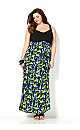 Pleat Bodice Print Maxi Dress