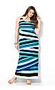 Tiered Blue Stripe Maxi Dress