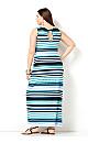 Blue Striped Keyhole Maxi Dress