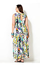Color Spotted Keyhole Maxi Dress