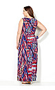 Red and Blue Abstract Print Maxi Dress
