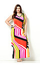 Abstract Stripe Maxi Dress