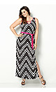 Chevron Pink Trim Maxi Dress