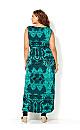 Black and Blue Printed Maxi Dress