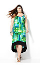 Blurred Green Hi Lo Dress