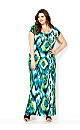 Blurred Ikat Cool Color Maxi Dress