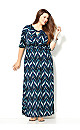 Abstract Leaf Twist Maxi Dress