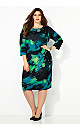 Printed Ruched Side Dress
