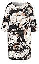 Plus Size 3/4 Bell Sleeve Swirl Print Dress - grey floral
