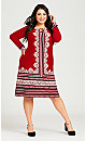 Plus Size Long Sleeve Border Midi Dress - red border