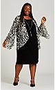 Plus Size Leopard Print Duet Dress - black