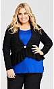 Plus Size Embellished Button Fit and Flare Cardigan - black white