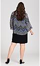 Plus Size Long Sleeve Chevron Jacket Dress - blue print