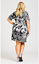 Plus Size Stone Ruched Sheath Dress - black white
