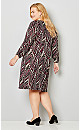 Abstract Chevron A-line Dress with Scarf
