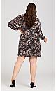 Plus Size Textured Rose Bishop Sleeve Dress - wine