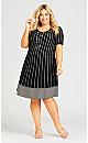 Plus Size 3/4 Sleeve Fit N Flare Sweater Dress - black spot