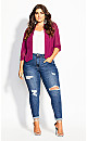 Cropped Blazer Jacket - raspberry
