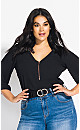 Plus Size Sexy Fling Elbow Sleeve Top - black