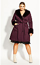 Plus Size Make Me Blush Coat - plum