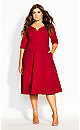 Classic Sleeve Dress - red
