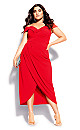 Plus Size Rippled Love Dress - red