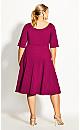 Plus Size Cute Girl Elbow Sleeve Dress - fuchsia