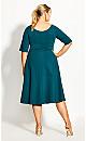 Cute Girl Elbow Sleeve Dress - jade
