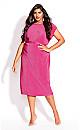 Plus Size Baby Pleat Dress - magenta