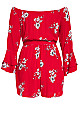 Love Floral Playsuit - red