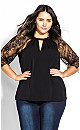 Short Lace Sleeve Top - black