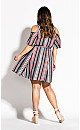 Plus Size Rose Stripe Dress - charcoal