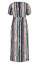 Jungle Stripe Short Sleeve Maxi Dress - black