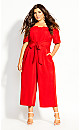 Lush Shoulder Jumpsuit - red