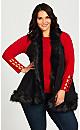 Plus Size Fur Vest - black