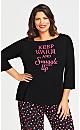 Plus Size Snuggle Sleep Top Black Pink Slogan Print