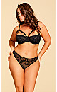 Eve Lace Strappy Thong - Black
