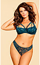 Eve Lace Strappy Thong - Emerald