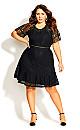 Plus Size Lace Blossom Dress - black
