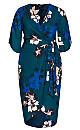 Plus Size Decadent Wrap Midi Dress - teal