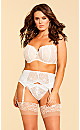 Plus Size Tatiana Embroidered Crotchless G-string - Ivory