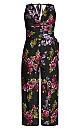 Women's Plus Size Vintage Floral Jumpsuit - black