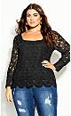 Plus Size Crochet Ella Top - black