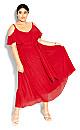 Plus Size Clothing - Romantic Tie Dress - red