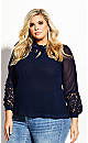 Plus Size Mysterious Lace Top - navy