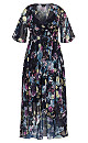 Shadow Floral Maxi Dress - navy