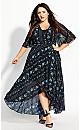 Shadow Stripe Maxi Dress - black