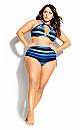 Cancun Stripe Underwire Bikini Top - blue