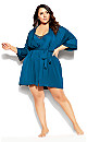 Plus Size Chemise And Robe Set - teal